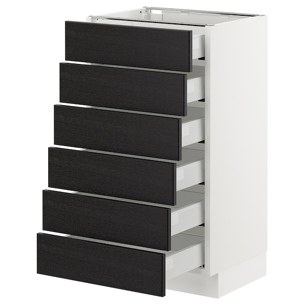 """SEKTION Base cabinet/6 fronts/6 low drawers, white Maximera/Lerhyttan black stained, 18x15x30 """""""