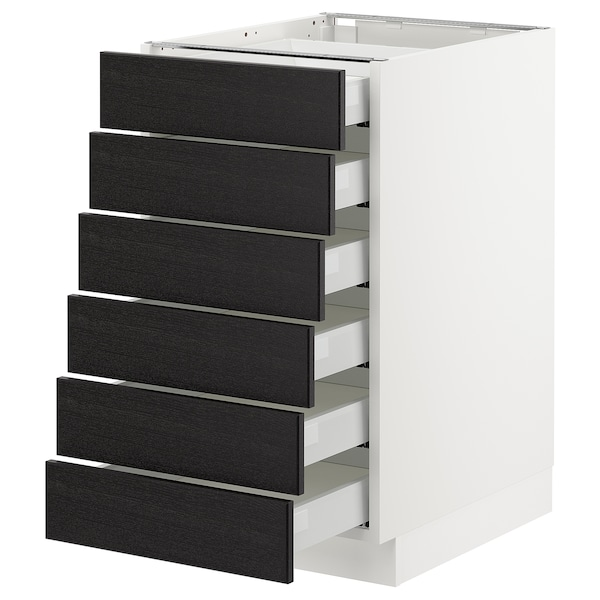 """SEKTION Base cabinet/6 fronts/6 low drawers, white Maximera/Lerhyttan black stained, 18x24x30 """""""