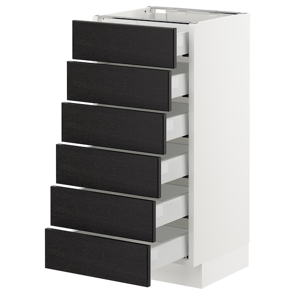 """SEKTION Base cabinet/6 fronts/6 low drawers, white Maximera/Lerhyttan black stained, 15x15x30 """""""
