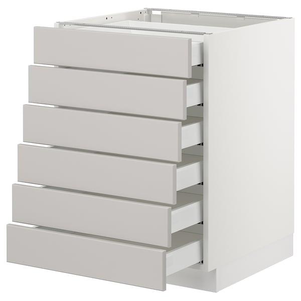 "SEKTION Base cabinet/6 fronts/6 low drawers, white Maximera/Lerhyttan light gray, 24x24x30 """