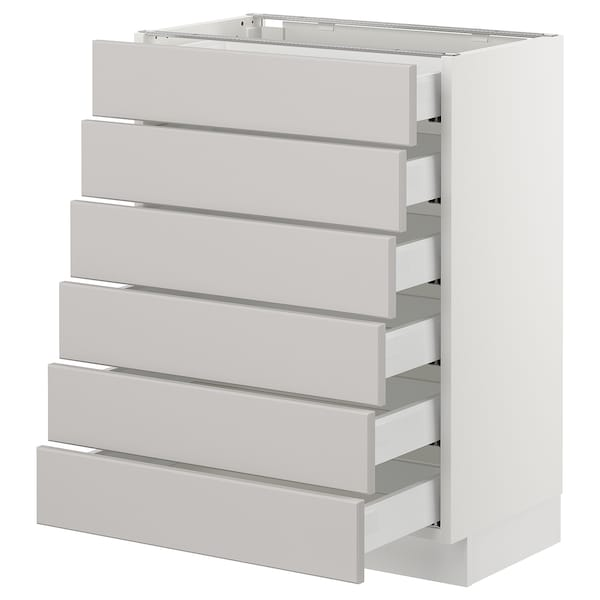 SEKTION Base cabinet/6 fronts/6 low drawers, white Maximera/Lerhyttan light gray, 24x15x30 ""