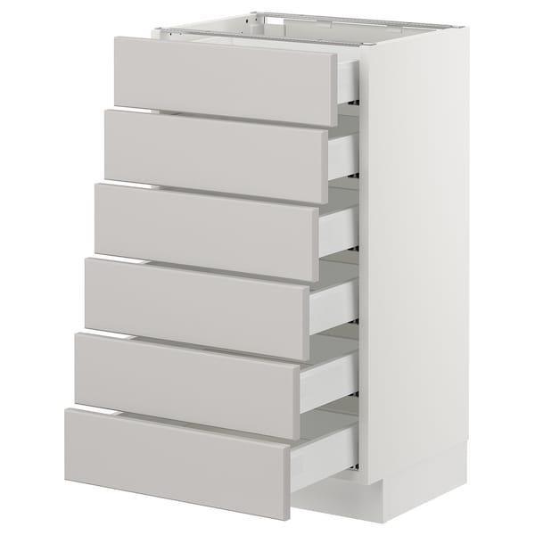 "SEKTION Base cabinet/6 fronts/6 low drawers, white Maximera/Lerhyttan light gray, 18x15x30 """