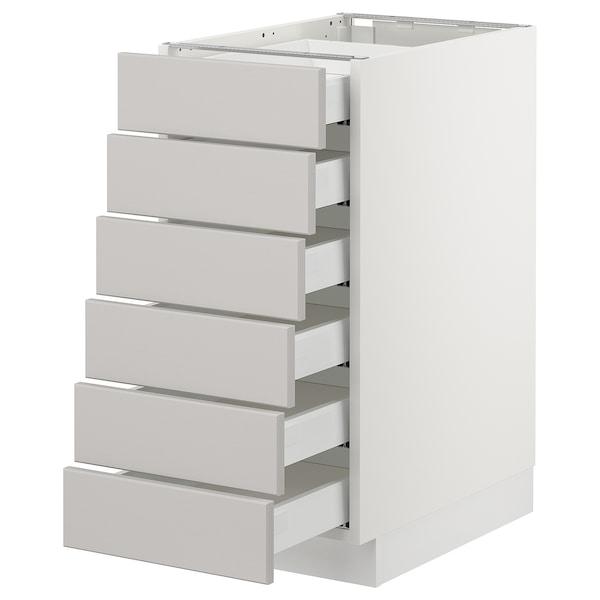 "SEKTION Base cabinet/6 fronts/6 low drawers, white Maximera/Lerhyttan light gray, 15x24x30 """