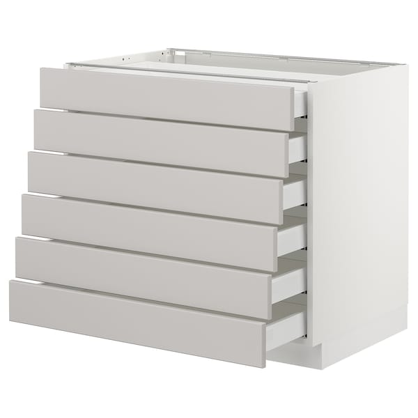 SEKTION Base cabinet/6 fronts/6 low drawers, white Maximera/Lerhyttan light gray, 36x24x30 ""
