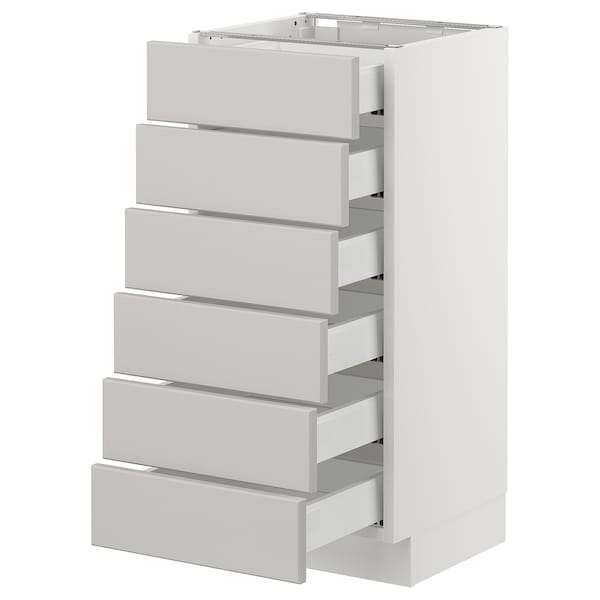 "SEKTION Base cabinet/6 fronts/6 low drawers, white Maximera/Lerhyttan light gray, 15x15x30 """