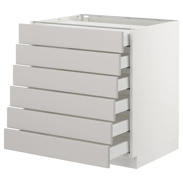 "SEKTION Base cabinet/6 fronts/6 low drawers, white Maximera/Lerhyttan light gray, 30x24x30 """