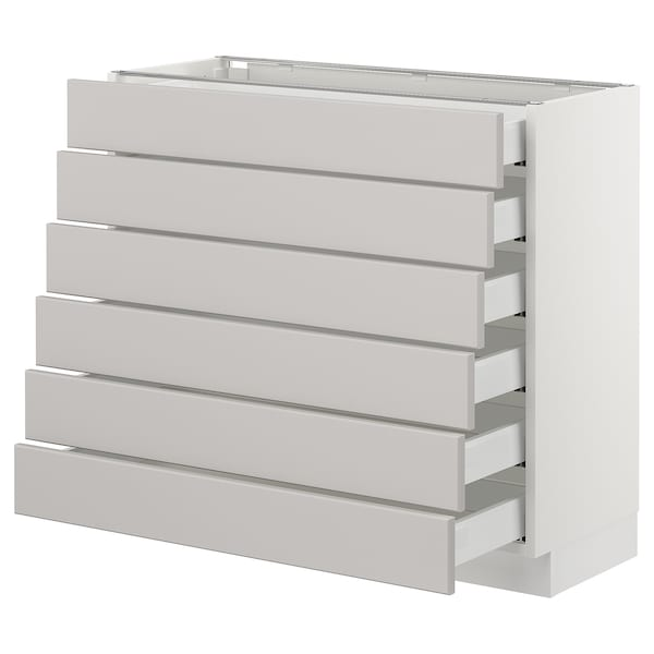SEKTION Base cabinet/6 fronts/6 low drawers, white Maximera/Lerhyttan light gray, 36x15x30 ""