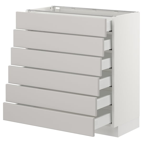 "SEKTION Base cabinet/6 fronts/6 low drawers, white Maximera/Lerhyttan light gray, 30x15x30 """