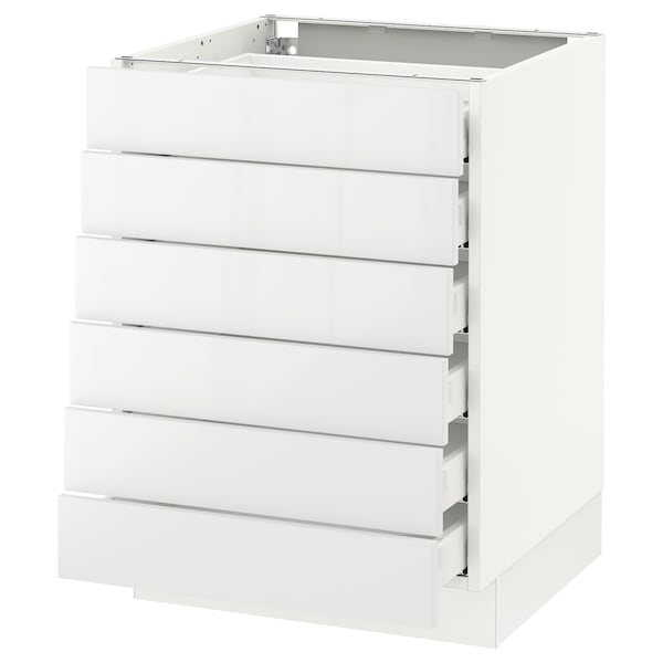 """SEKTION Base cabinet/6 fronts/6 low drawers, white Maximera/Ringhult white, 24x24x30 """""""