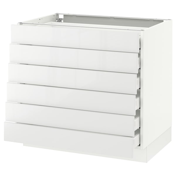 """SEKTION Base cabinet/6 fronts/6 low drawers, white Maximera/Ringhult white, 36x24x30 """""""