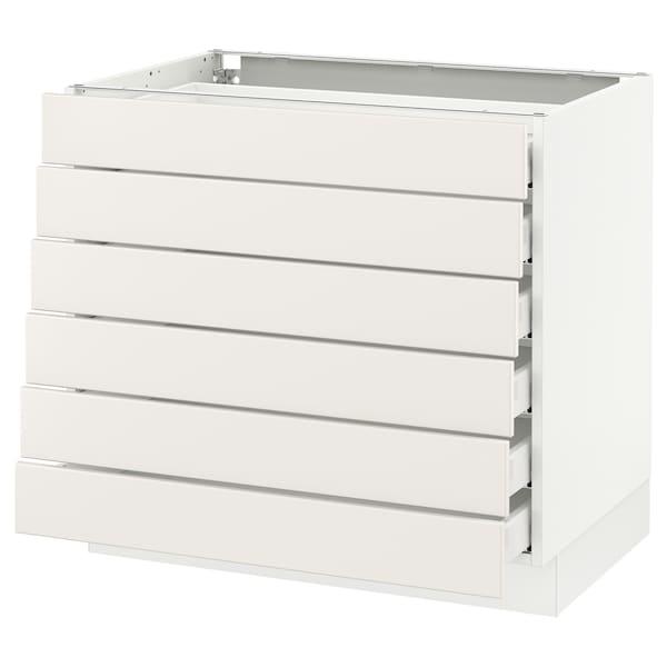 """SEKTION Base cabinet/6 fronts/6 low drawers, white Maximera/Veddinge white, 36x24x30 """""""