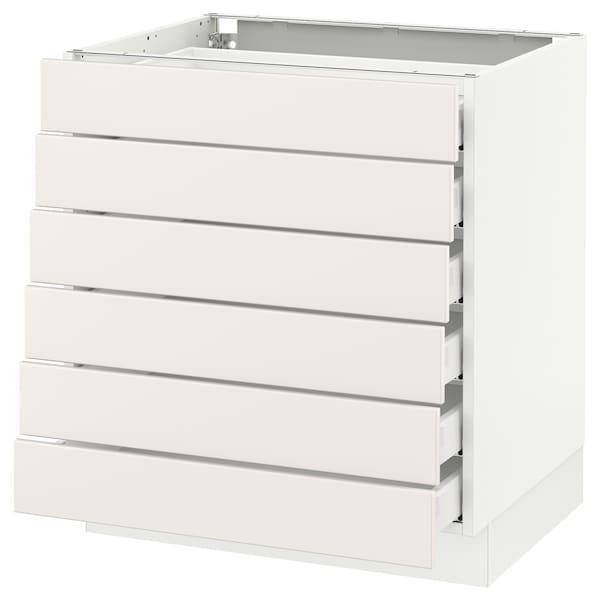 """SEKTION Base cabinet/6 fronts/6 low drawers, white Maximera/Veddinge white, 30x24x30 """""""