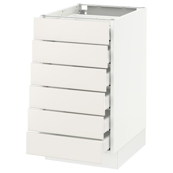 """SEKTION Base cabinet/6 fronts/6 low drawers, white Maximera/Veddinge white, 18x24x30 """""""