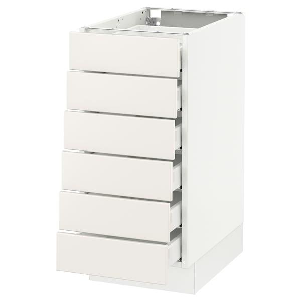 """SEKTION Base cabinet/6 fronts/6 low drawers, white Maximera/Veddinge white, 15x24x30 """""""