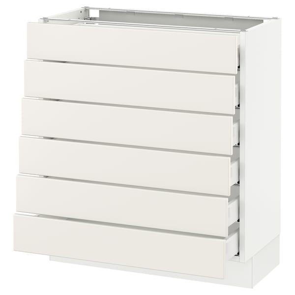 """SEKTION Base cabinet/6 fronts/6 low drawers, white Maximera/Veddinge white, 30x15x30 """""""
