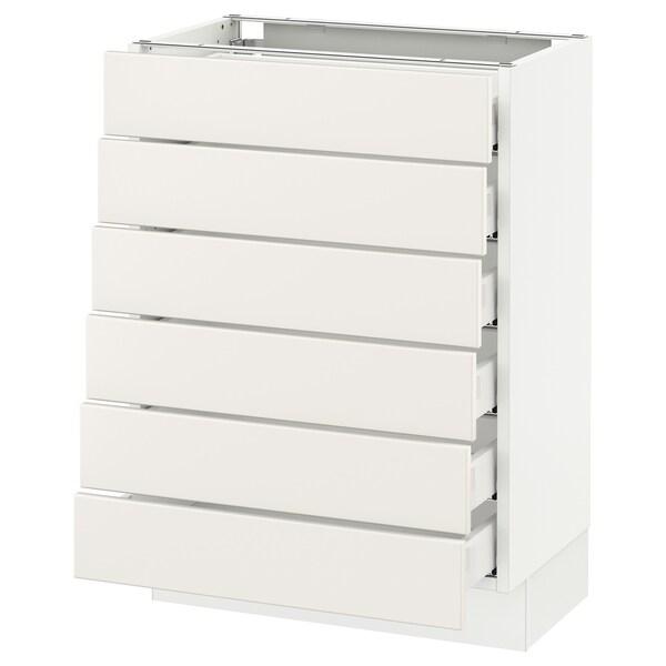 """SEKTION Base cabinet/6 fronts/6 low drawers, white Maximera/Veddinge white, 24x15x30 """""""