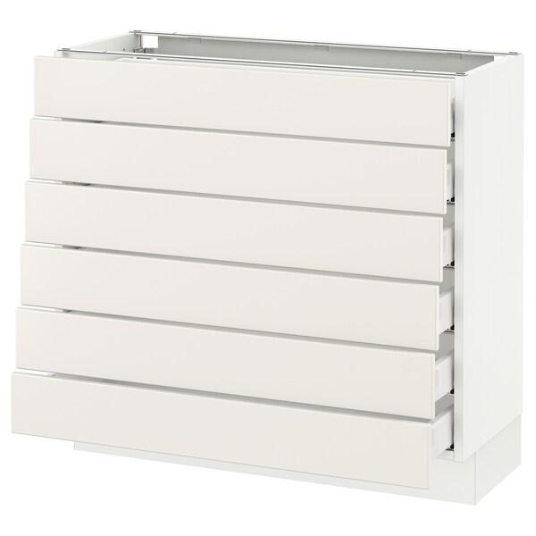 """SEKTION Base cabinet/6 fronts/6 low drawers, white Maximera/Veddinge white, 36x15x30 """""""