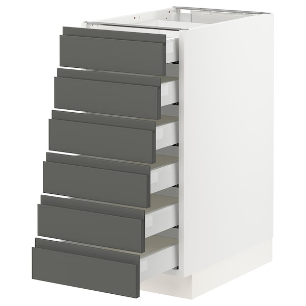 SEKTION Base cabinet/6 fronts/6 low drawers, white Maximera/Voxtorp dark gray, 15x24x30 ""