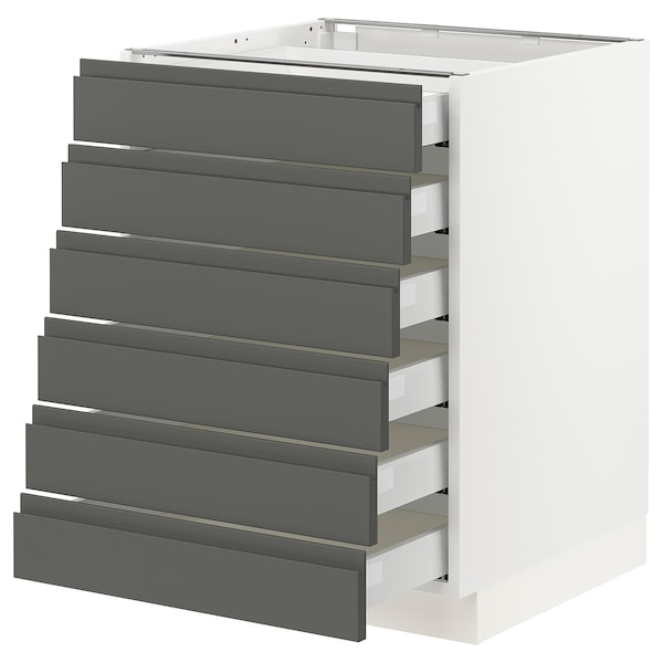 """SEKTION Base cabinet/6 fronts/6 low drawers, white Maximera/Voxtorp dark gray, 24x24x30 """""""