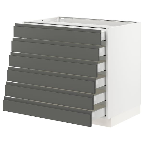 """SEKTION Base cabinet/6 fronts/6 low drawers, white Maximera/Voxtorp dark gray, 36x24x30 """""""