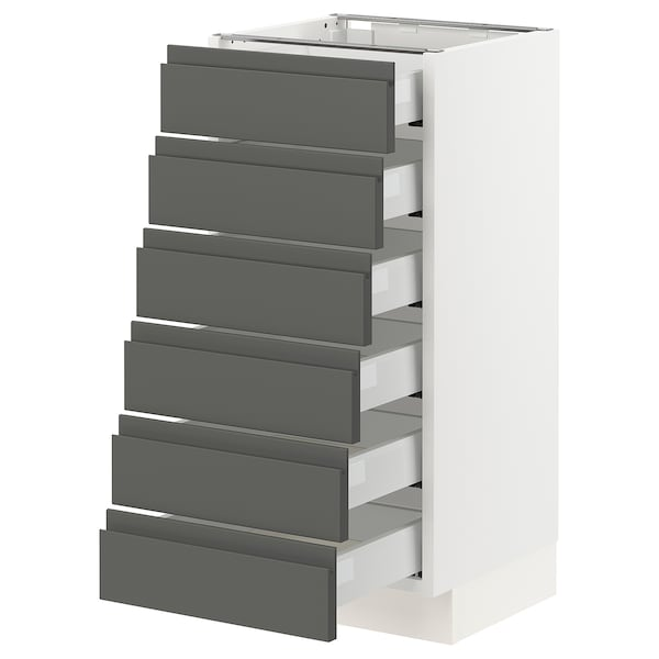 """SEKTION Base cabinet/6 fronts/6 low drawers, white Maximera/Voxtorp dark gray, 15x15x30 """""""