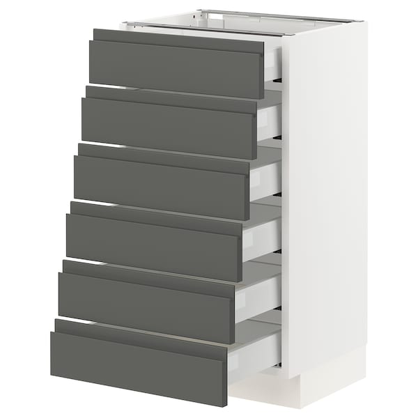 """SEKTION Base cabinet/6 fronts/6 low drawers, white Maximera/Voxtorp dark gray, 18x15x30 """""""