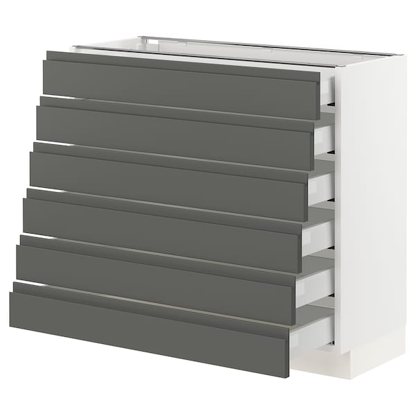 """SEKTION Base cabinet/6 fronts/6 low drawers, white Maximera/Voxtorp dark gray, 36x15x30 """""""