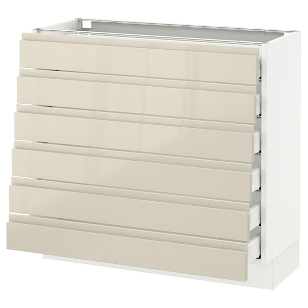 """SEKTION Base cabinet/6 fronts/6 low drawers, white Maximera/Voxtorp high-gloss light beige, 36x15x30 """""""