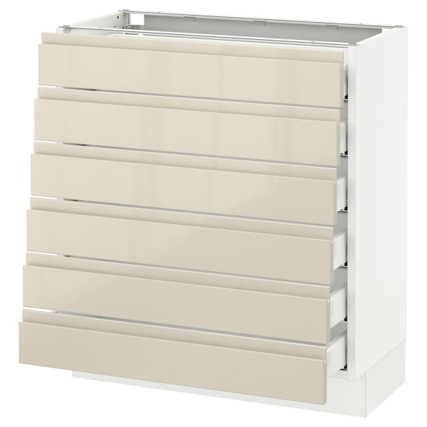 """SEKTION Base cabinet/6 fronts/6 low drawers, white Maximera/Voxtorp high-gloss light beige, 30x15x30 """""""