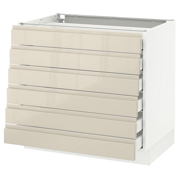 """SEKTION Base cabinet/6 fronts/6 low drawers, white Maximera/Voxtorp high-gloss light beige, 36x24x30 """""""