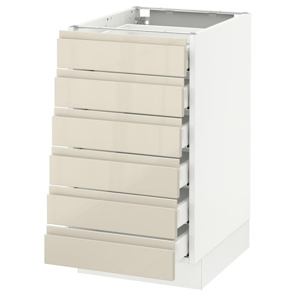 SEKTION Base cabinet/6 fronts/6 low drawers, white Maximera/Voxtorp high-gloss light beige, 18x24x30 ""