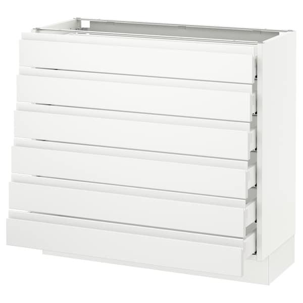 "SEKTION Base cabinet/6 fronts/6 low drawers, white Maximera/Voxtorp matt white, 36x15x30 """