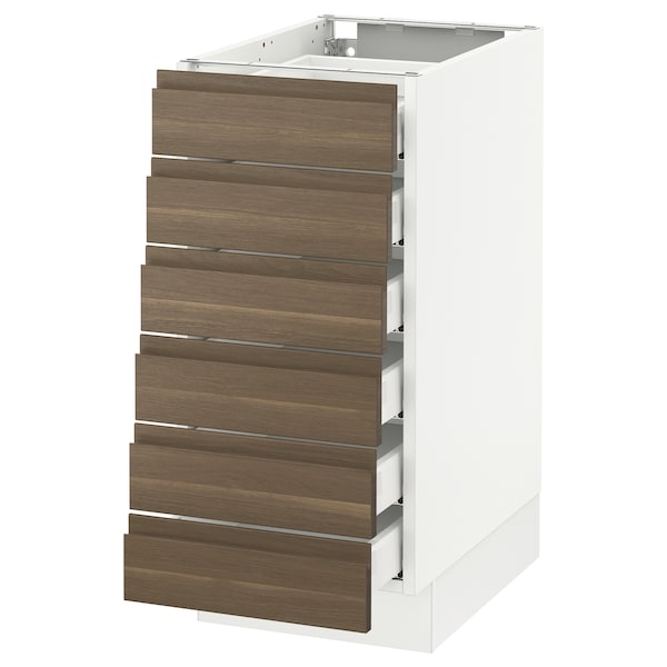 SEKTION Base cabinet/6 fronts/6 low drawers, white Maximera/Voxtorp walnut, 15x24x30 ""