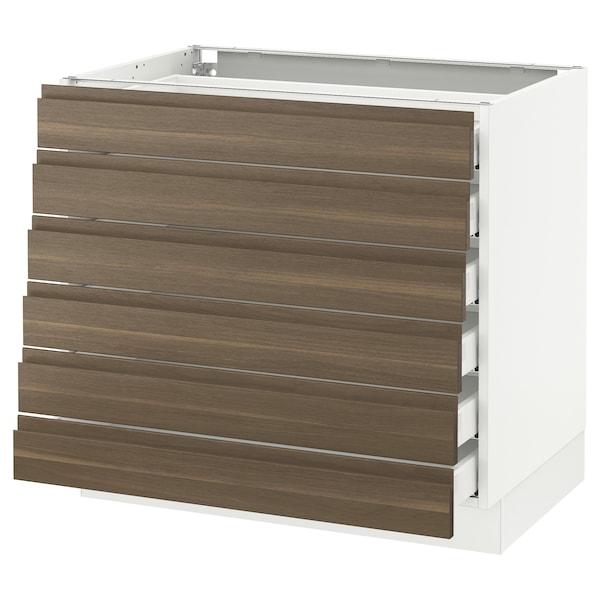 "SEKTION Base cabinet/6 fronts/6 low drawers, white Maximera/Voxtorp walnut, 36x24x30 """