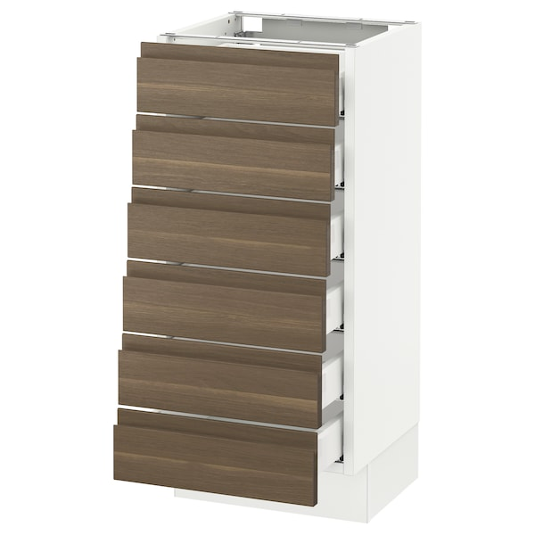 SEKTION Base cabinet/6 fronts/6 low drawers, white Maximera/Voxtorp walnut, 15x15x30 ""