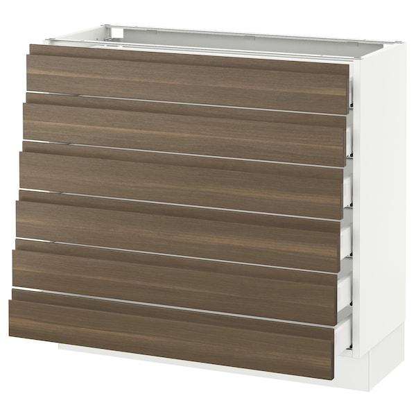 "SEKTION Base cabinet/6 fronts/6 low drawers, white Maximera/Voxtorp walnut, 36x15x30 """