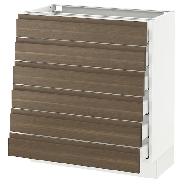 "SEKTION Base cabinet/6 fronts/6 low drawers, white Maximera/Voxtorp walnut, 30x15x30 """
