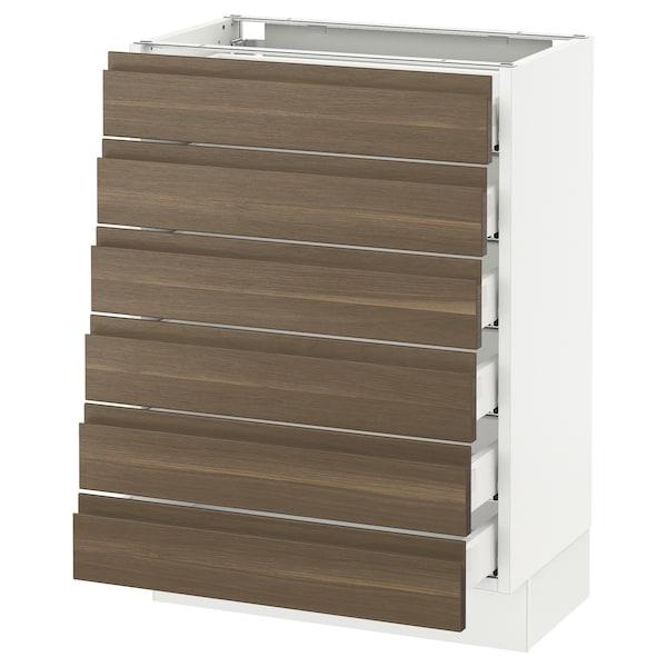 "SEKTION Base cabinet/6 fronts/6 low drawers, white Maximera/Voxtorp walnut, 24x15x30 """