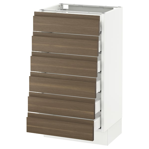 SEKTION Base cabinet/6 fronts/6 low drawers, white Maximera/Voxtorp walnut, 18x15x30 ""