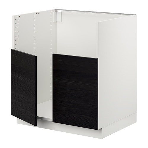 Sektion Base Cabinet F Bredsjon 2 Bowl Sink White Tingsryd Black