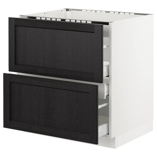 """SEKTION Base cabinet f/cooktop w/3 drawers, white Maximera/Lerhyttan black stained, 30x24x30 """""""