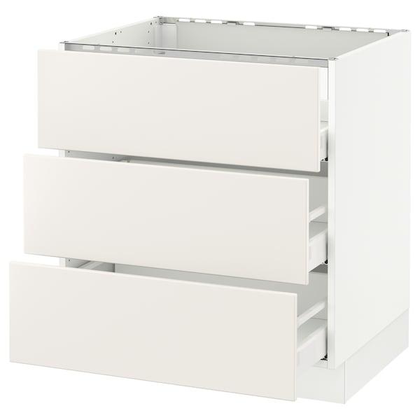 "SEKTION Base cabinet f/cooktop w/3drawers, white Maximera/Veddinge white, 30x24x30 """