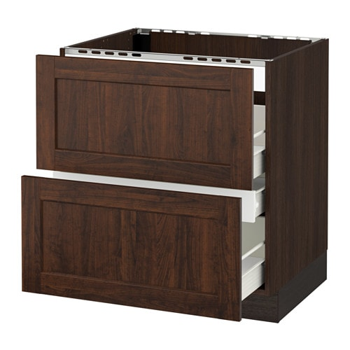 Sektion base cabinet f cooktop w 3 drawers wood effect for Wood effect kitchen cupboards
