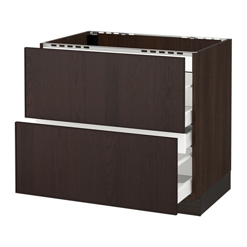 sektion base cabinet f cooktop w 3 drawers wood effect brown ma ekestad brown 36x24x30 ikea. Black Bedroom Furniture Sets. Home Design Ideas