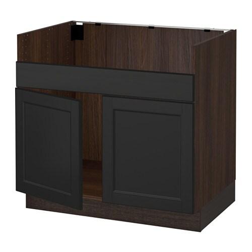 Sektion base cabinet f domsj 2 bowl sink wood effect for Wood effect kitchen cupboards