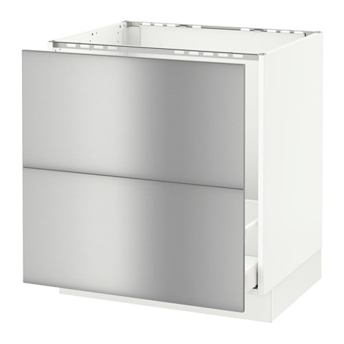 Sektion base cabinet f sink recycling white grevsta for Stainless steel kitchen base cabinets
