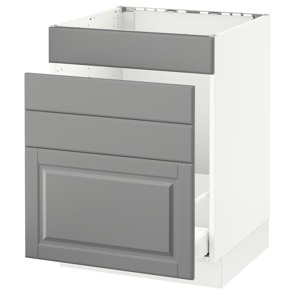 "SEKTION Base cabinet f/sink & waste sorting, white Maximera/Bodbyn gray, 24x24x30 """