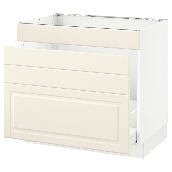 SEKTION Base cabinet f/sink & waste sorting, white Maximera/Bodbyn off-white, 36x24x30 ""