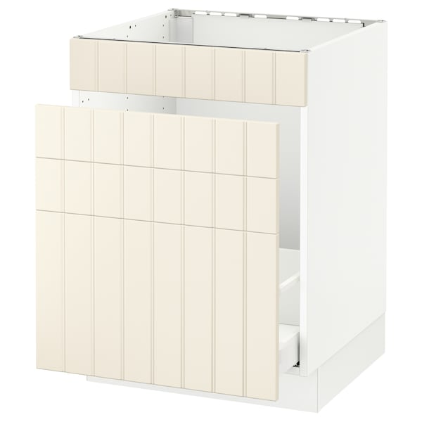 "SEKTION Base cabinet f/sink & waste sorting, white Maximera/Hittarp off-white, 24x24x30 """