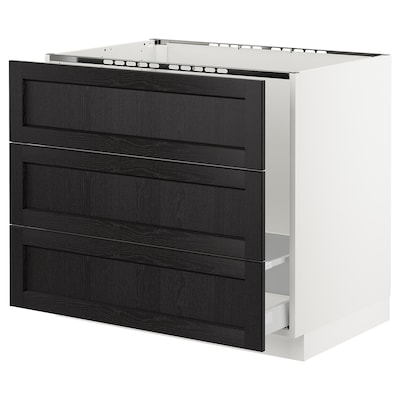 SEKTION Base cabinet f/sink & waste sorting, white Maximera/Lerhyttan black stained, 36x24x30 ""